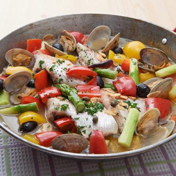 鯛と春野菜のアクアパッツァ風