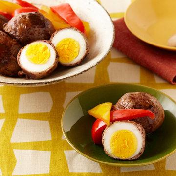 茹で卵の肉巻き甘辛たれ