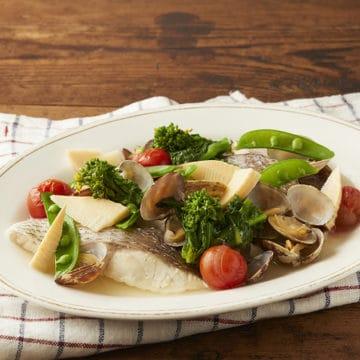 鯛と春野菜のフライパン蒸し