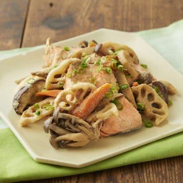 鮭と秋野菜のごま煮