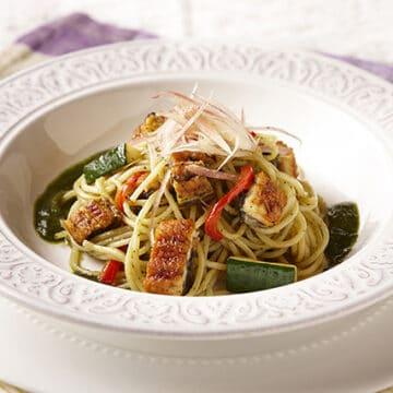 うなぎと夏野菜のスパゲティー 和風ジェノベーゼソース