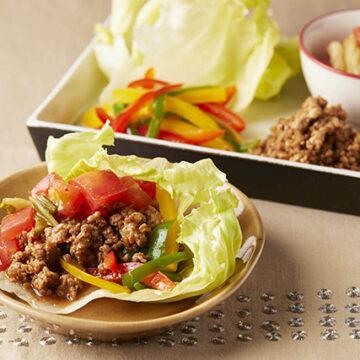 中華風肉味噌のレタス包み